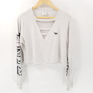 PINK Cutout Cropped Oversized Long Sleeve Gray